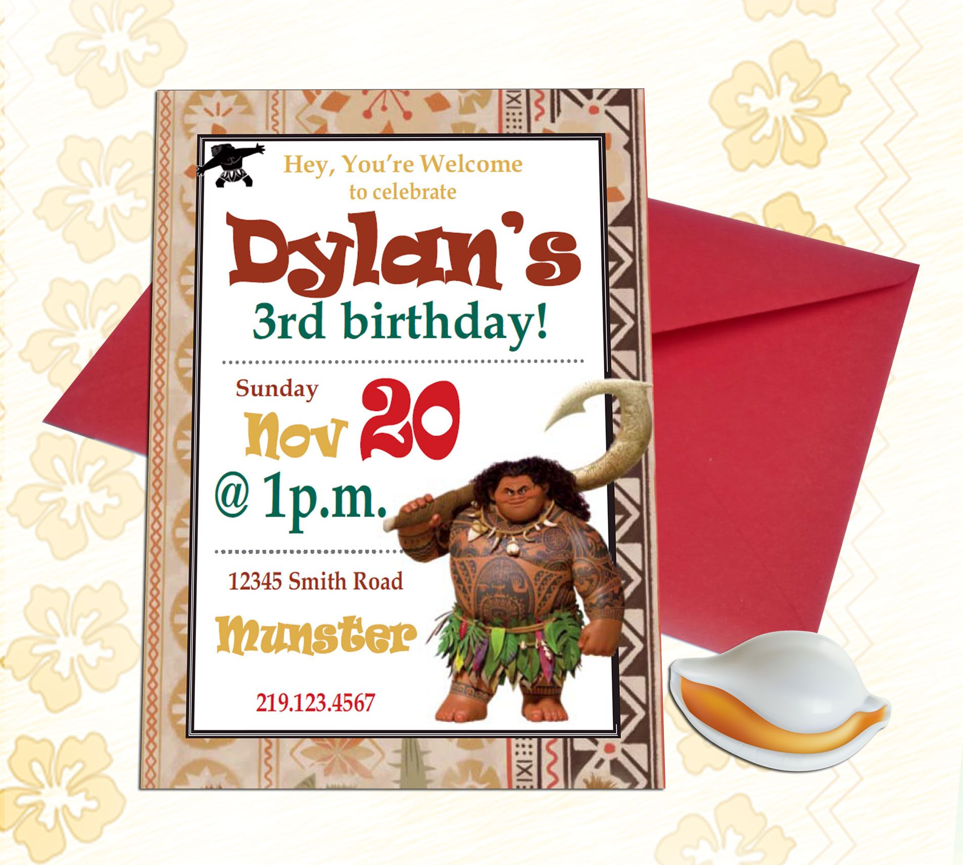 Maui Demigod Weaved Birthday Invitation - Disney Princess Moana ...