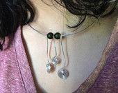 Spiral necklace, bohemian choker, silver, green necklace, green, hippie necklace, retro necklace, 70s, mod
