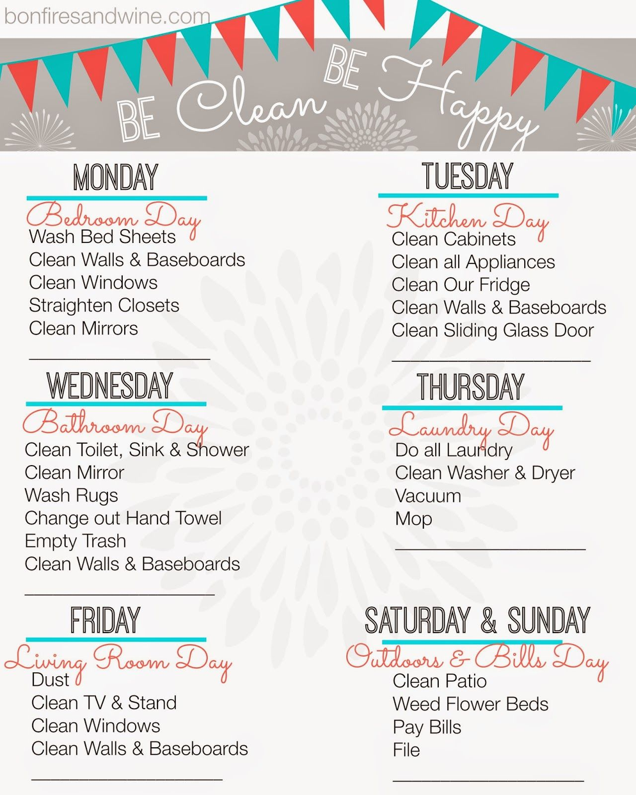 Free Printable Cleaning Schedule That Includes A Reminder To Pay Bills