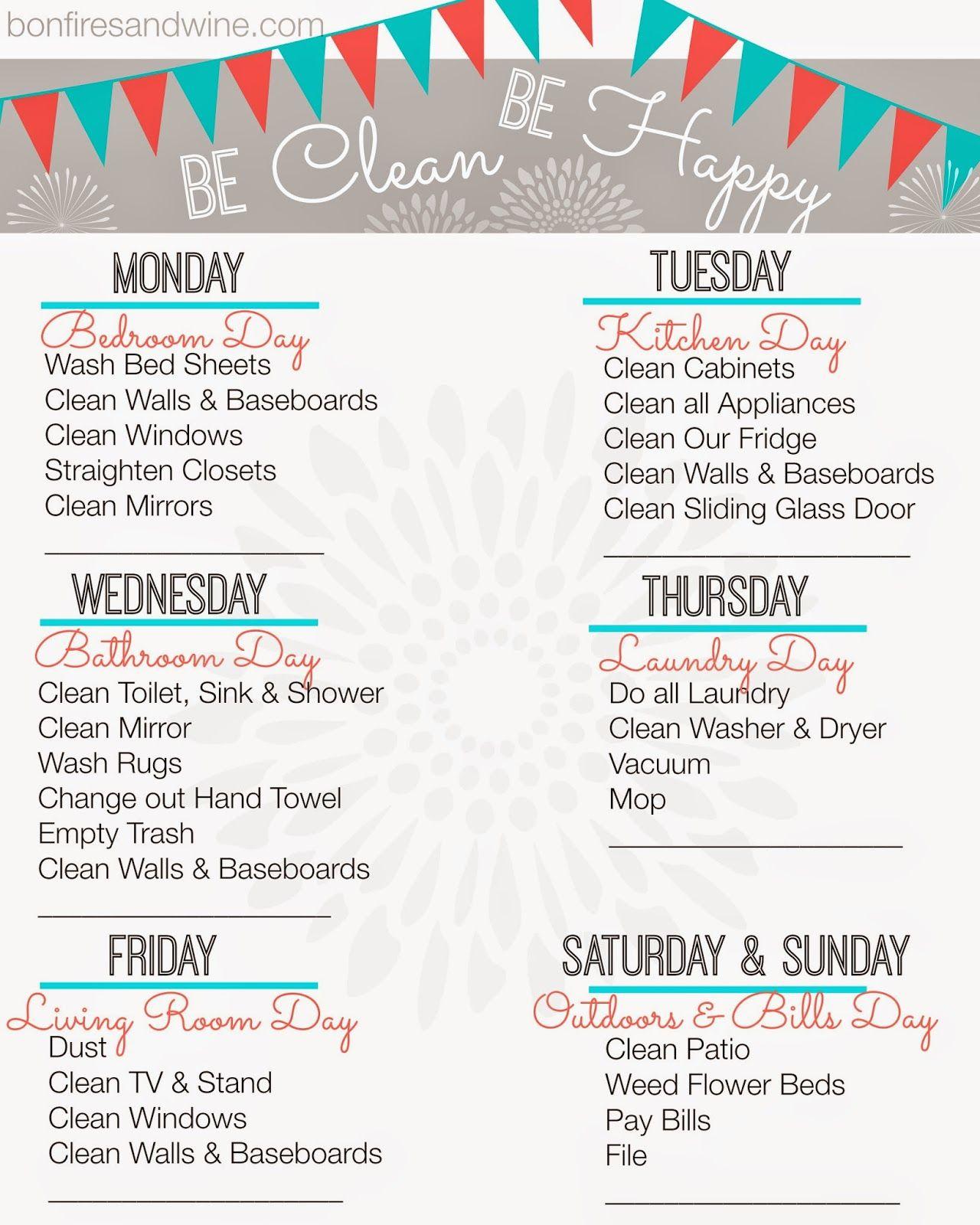 Weekly Cleaning Schedule Free Printable