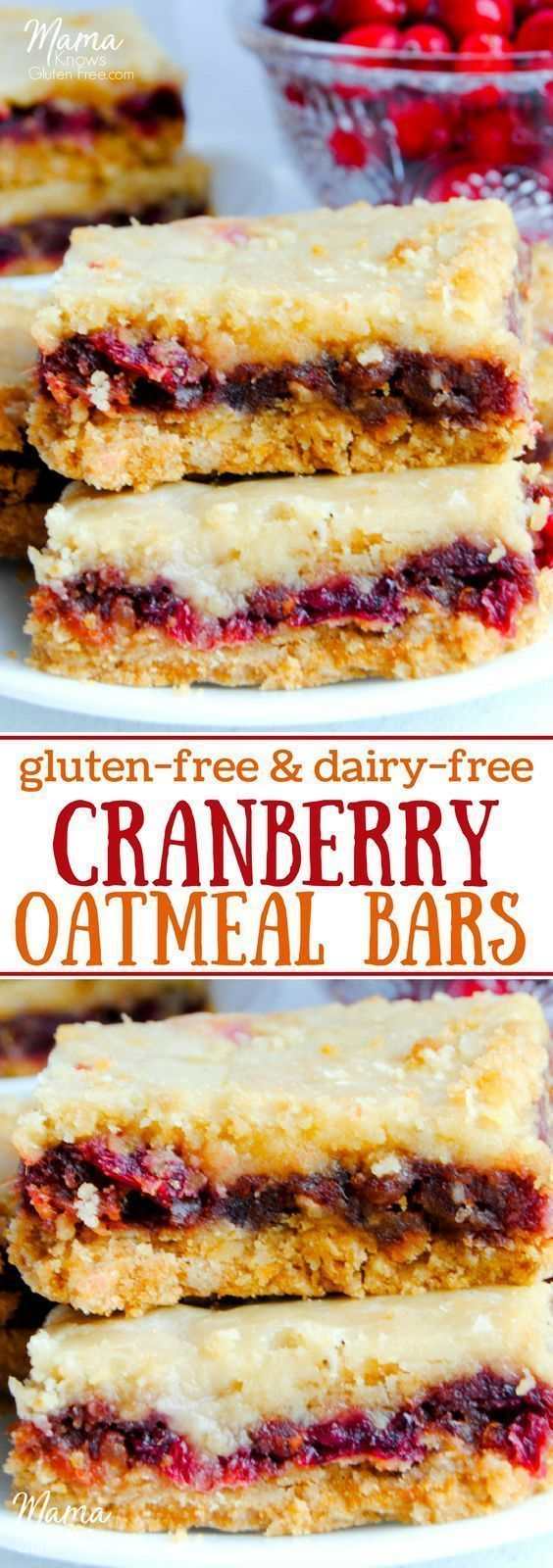 Super easy gluten-free cranberry oatmeal bars are a combination of sweet and tart with an oatmeal cookie drizzled with orange glaze. #glutenfreedessert #glutenfreethanksgiving