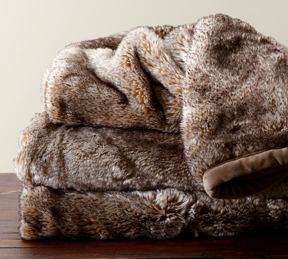 Faux-Fur Ombre Throw