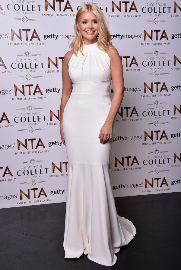 Holly Willoughby In White Dress By Fashion Designer Suzanne Neville At National Television Awards 2016