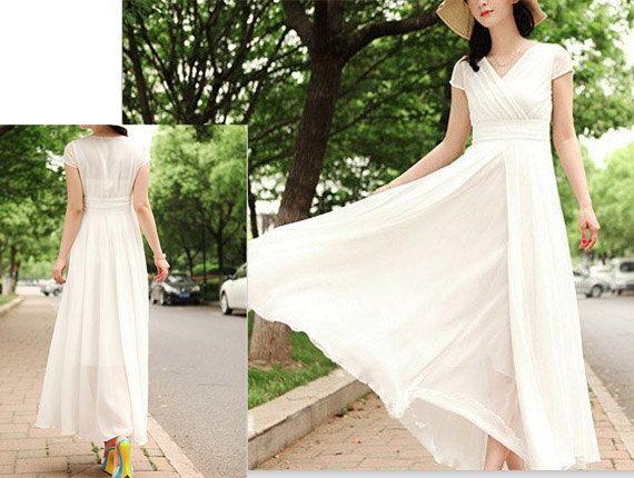 White Party Dress Maxi Dress Chiffon Wedding Dress Plus Size Evening