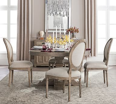 Linden Fixed Pedestal Table Grey At Pottery Barn Dining