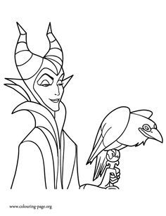 In This Beautiful Picture You Will Find The Witch Maleficent And His Pet Diablo J Sleeping Beauty Coloring Pages Disney Coloring Pages Cartoon Coloring Pages