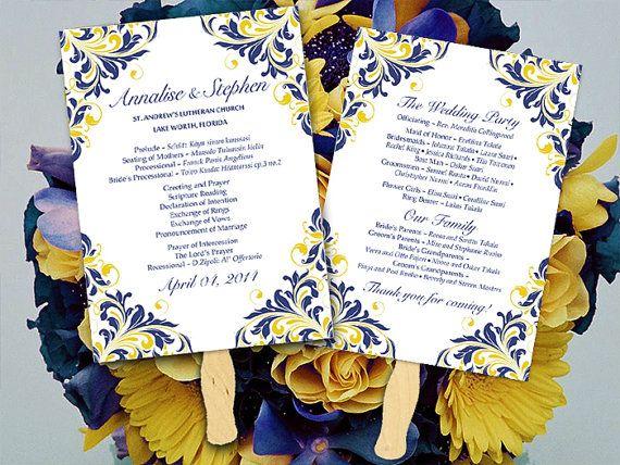Diy Wedding Fan Program Template Navy Blue Yellow Maggie Flourish Ceremony