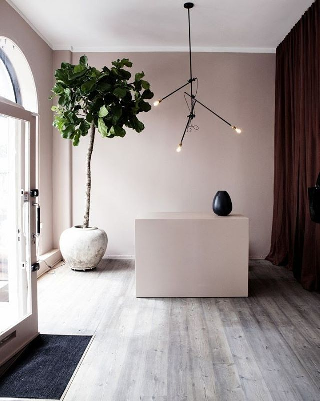 Paint Colors For Interior Walls: Dusty Pink Walls With Grey Washed Timber Floors Make This