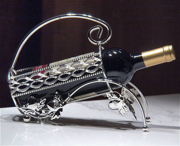 European Zinc Alloy Plating Silver Table Decoration Wine Bottle Holder Wine Rack #Unbranded