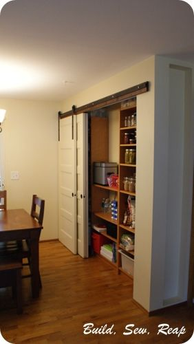 Pantry with DIY Barn Door Hardware by Julie @ Buildsewreap.com | by Julie {http://buildsewreap.com}