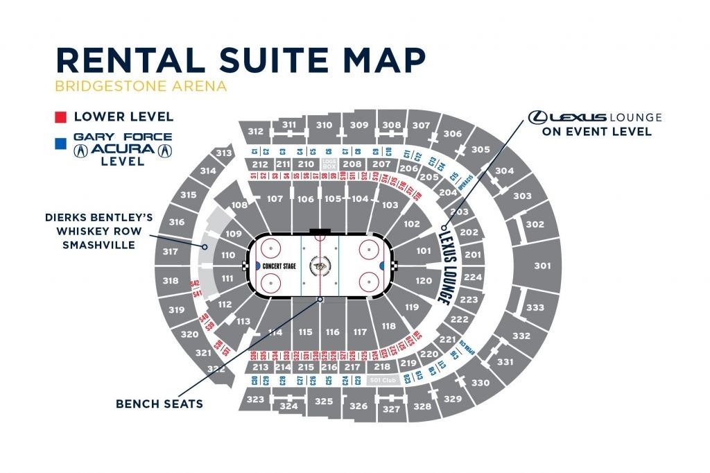 Bridgestone Arena Seating Chart With Rows And Seat Numbers
