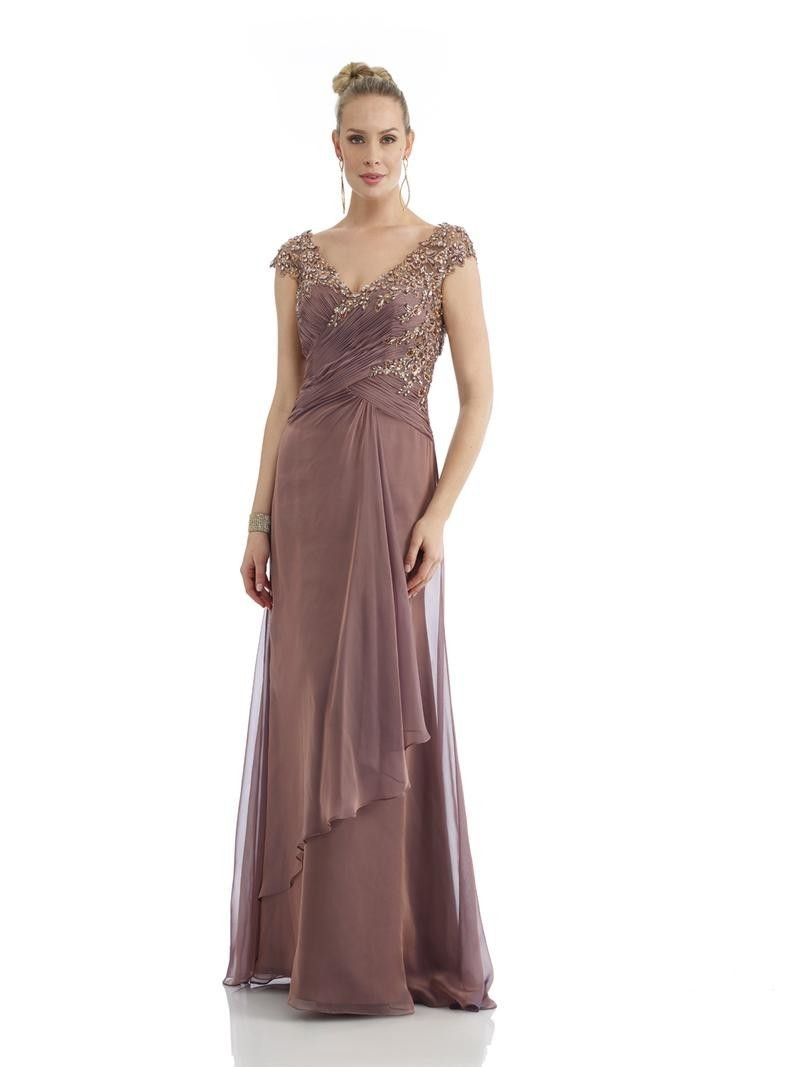 Wedding dresses for mother of the bride  Brown V Neck Brush Train Chiffon A Line Mother Of The Bride Dress
