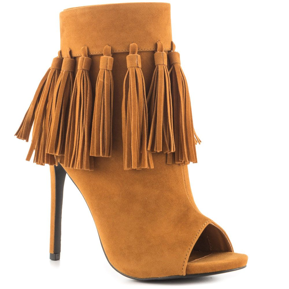 The Cortez is cool and effortless. This Privileged ankle bootie is made with soft chestnut fabric, fringe trim and peep toe. (affiliate)