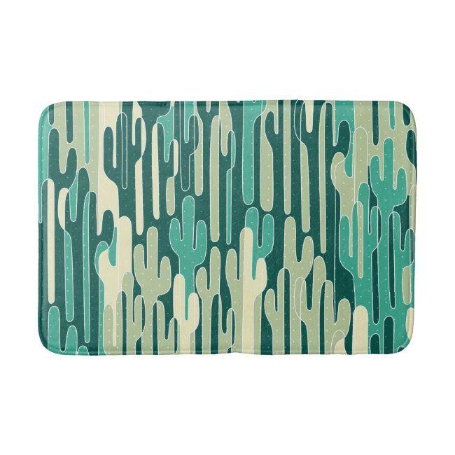 Cactus Pattern Design Bath Mat
