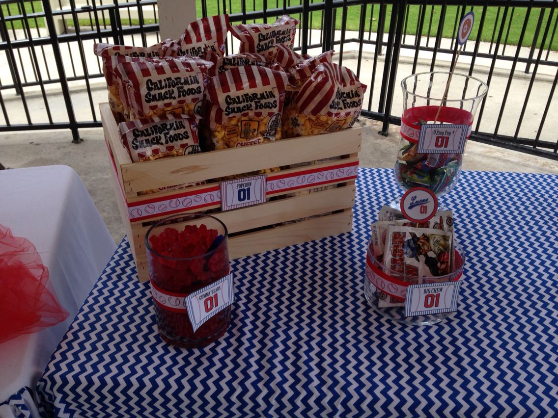 baseball theme birthday party candy bar snack table concession stand ideas baseball theme kids. Black Bedroom Furniture Sets. Home Design Ideas
