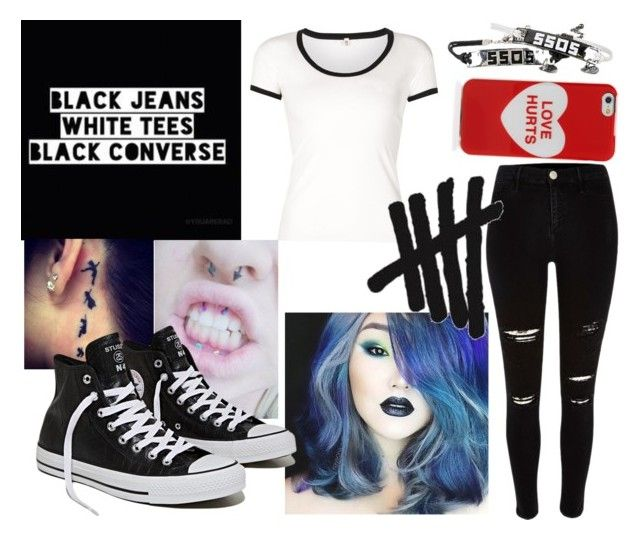 """""""untitled #16"""" by nefelisas ❤ liked on Polyvore featuring River Island, R13 and Marc Jacobs"""
