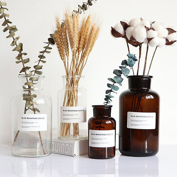 Photo of 250ml / 500ml / 1000ml Vintage Fashion Amber Brown Glass Apothecary Bottles Jars Home Decoration Flower Vase Bath Salt Bottles