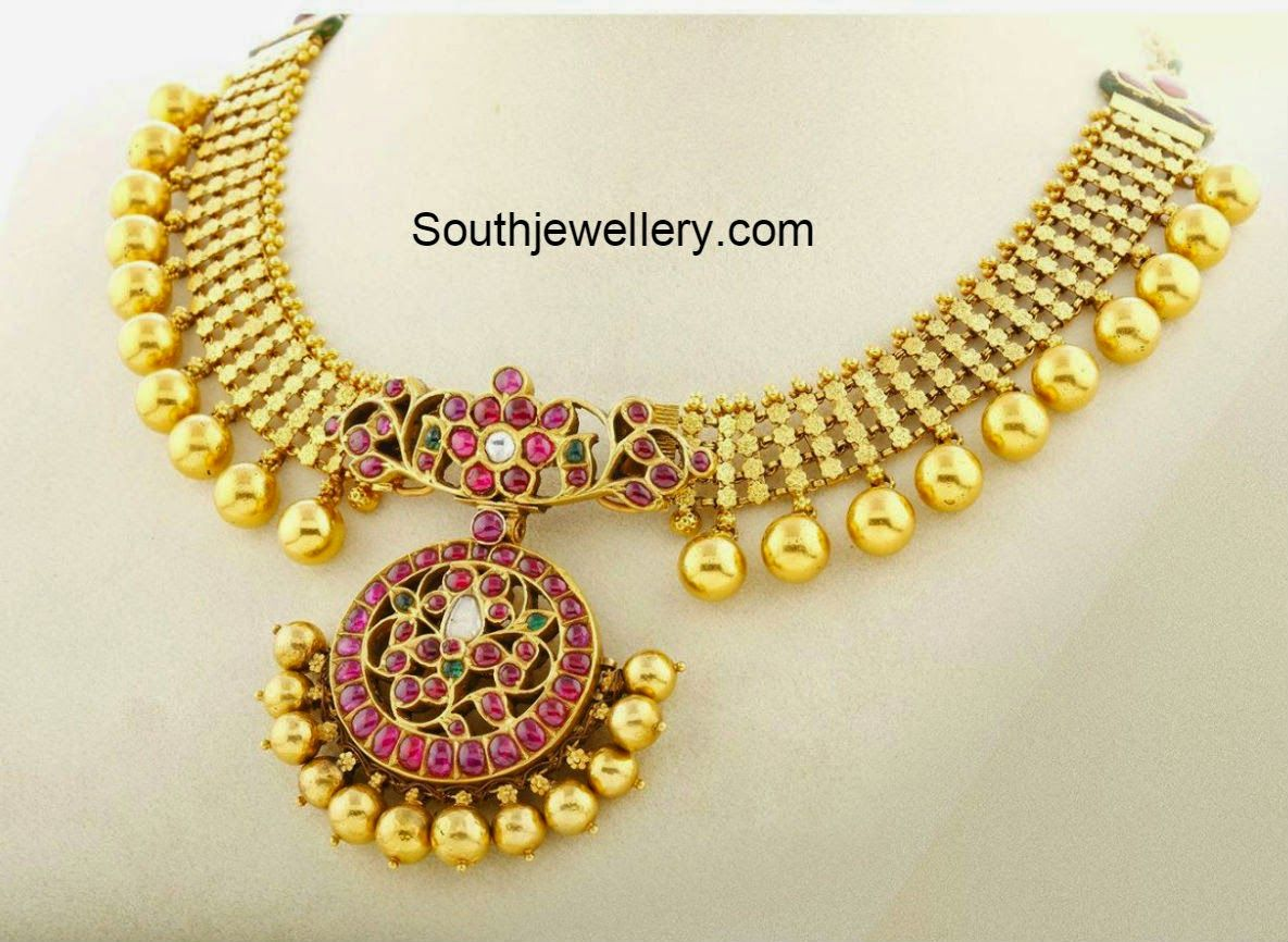 Beautiful 22 carat gold chains with matching pendant designs latest - 22 Carat Gold Antique Finish Necklace With Beautiful Pendant Adorned With Rubies Emeralds And Polkis From Nac Jewellers