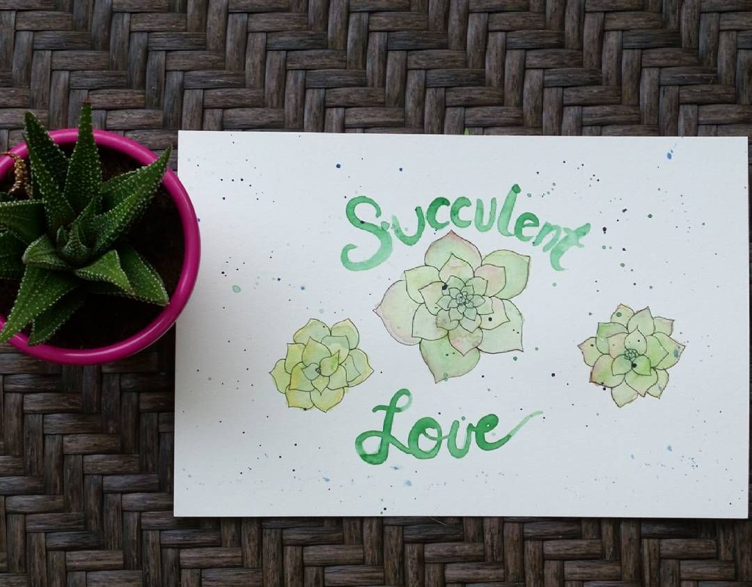 Water color succulents See this Instagram photo by @pinklemonadeartistry   Canson watercolor paper Cotman Winsor and newton