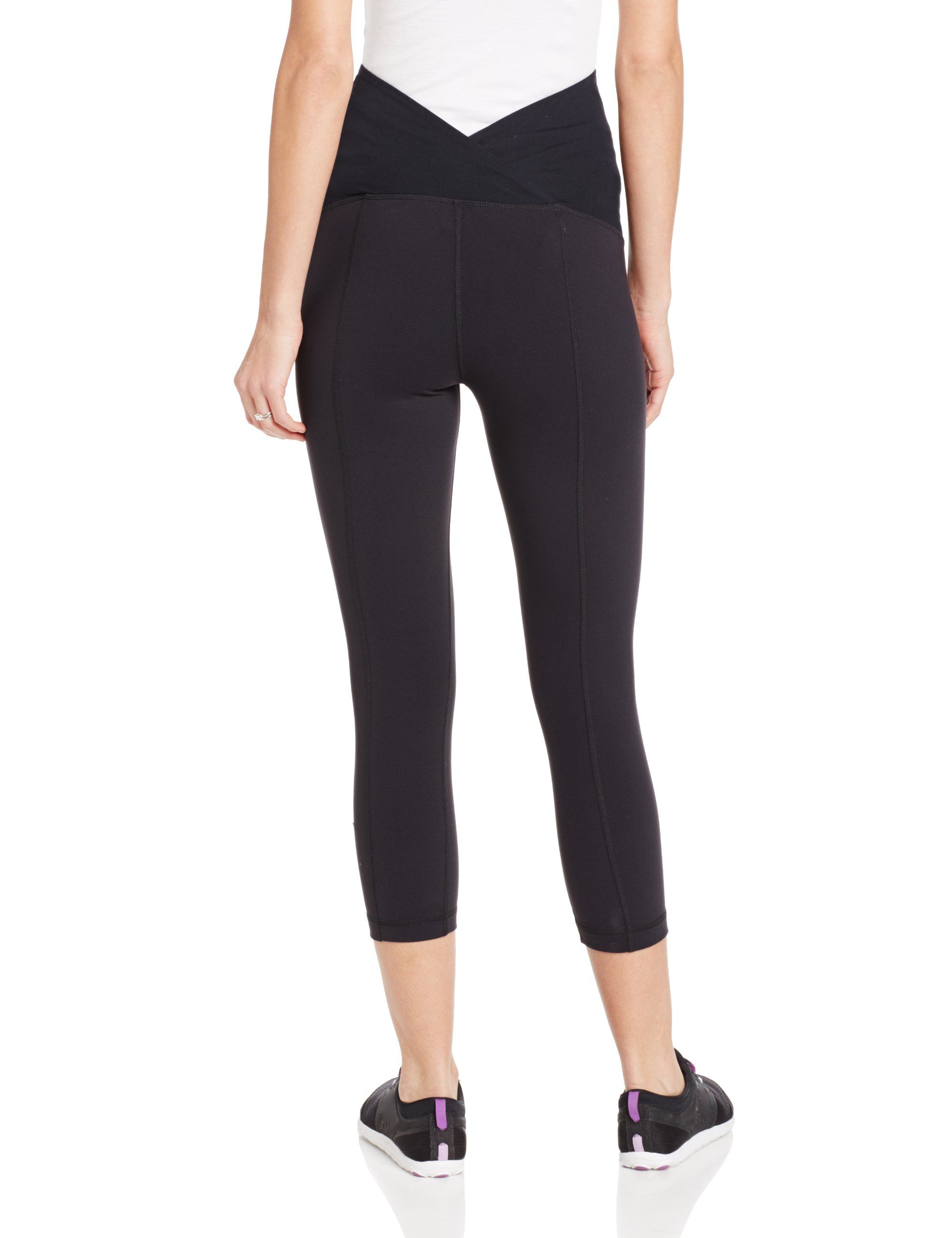 4f0664f32752f8 pregnancy workout - Ingrid and Isabel Womens Maternity Active Capri Pant  with Crossover Panel Jet Black Medium ** For more details, see picture link.