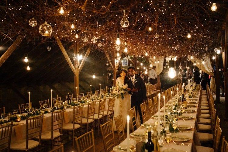 winter wedding reception, winter wedding, christmas lights
