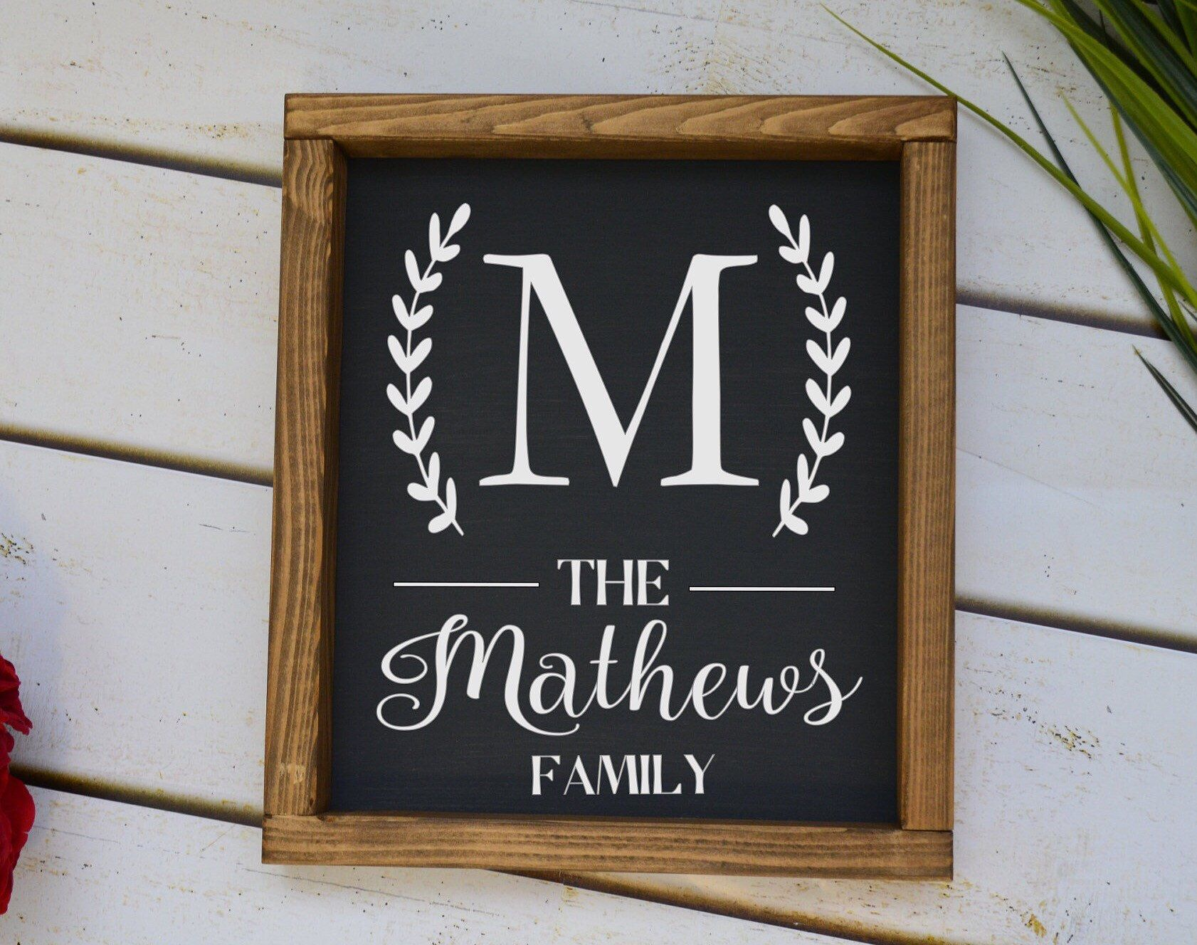 Last Name Sign Monogram Personalized Wood Sign Wedding Etsy Wood Signs Wedding Gift Personalized Wood Signs Family Wood Signs