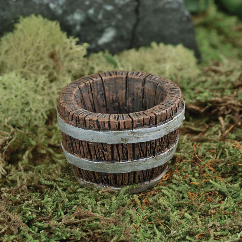 FAIRY GARDEN Miniature ~ Barrel Planter ~ Mini Dollhouse