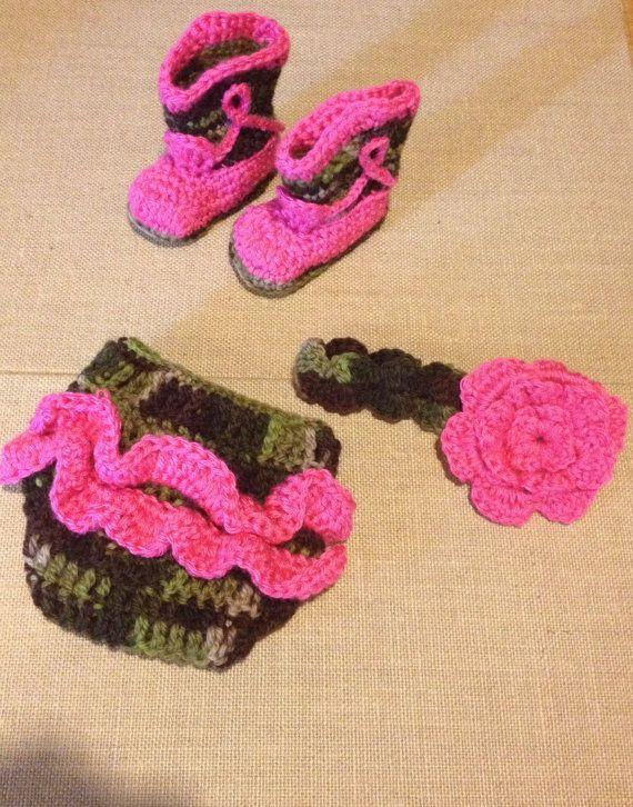 Crochet Camo Cowboy Boots Diaper Cover And Headband Set You