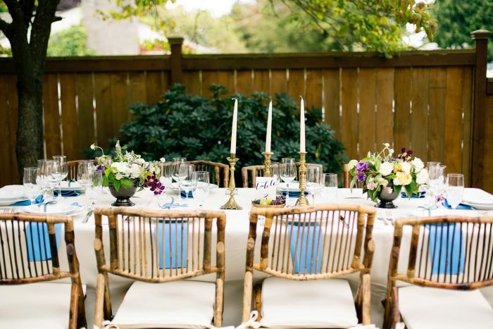 Jael & Gilbert's at home backyard dinner party reception. Photography by Betty Elaine. See more.... @intimateweddings.com #tablesetting b#tablescape