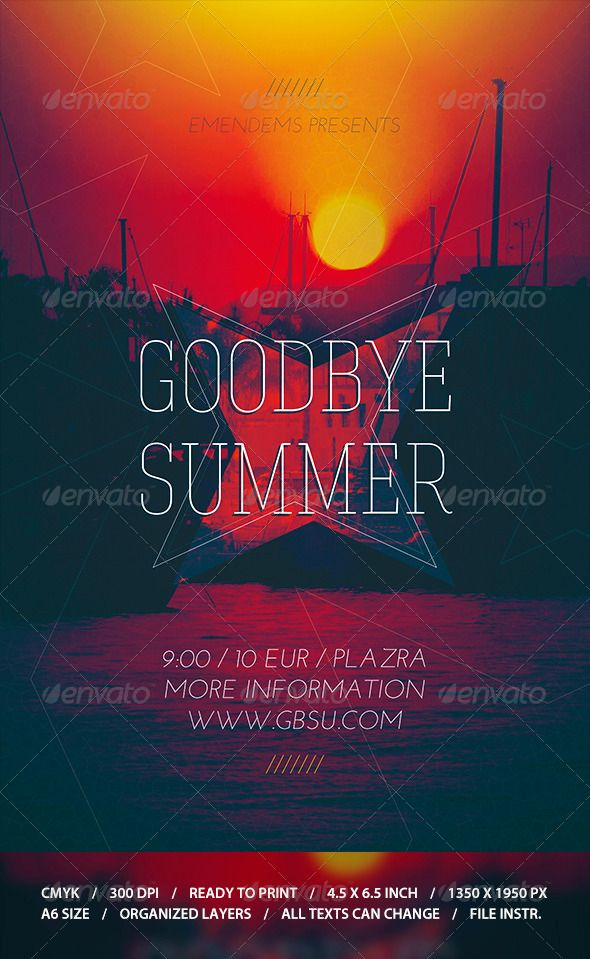 Goodbye Summer Flyer Template  Flyer Template Template And