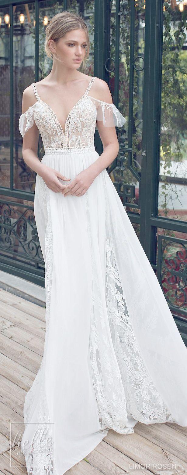 Lace Wedding Dress Detachable Train Tiered Lace Mermaid