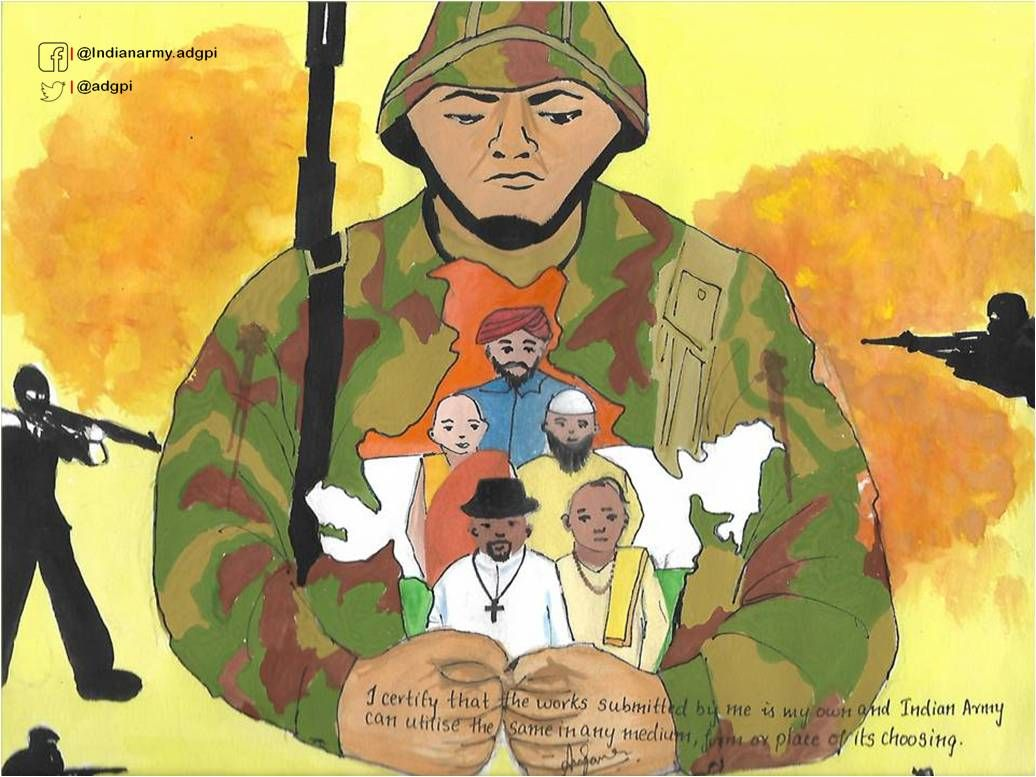 Adg Pi Indian Army On Army Drawing Drawing Competition Art Drawings For Kids