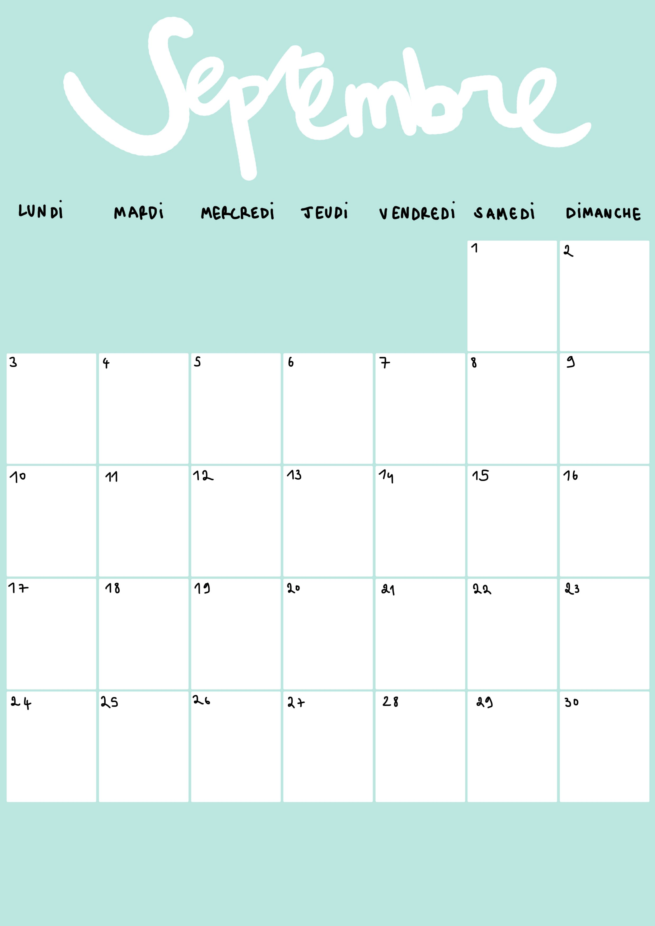 Calendrier Mois De Septembre.Calendrier Du Mois De Septembre 2018 A Imprimer Calendrier