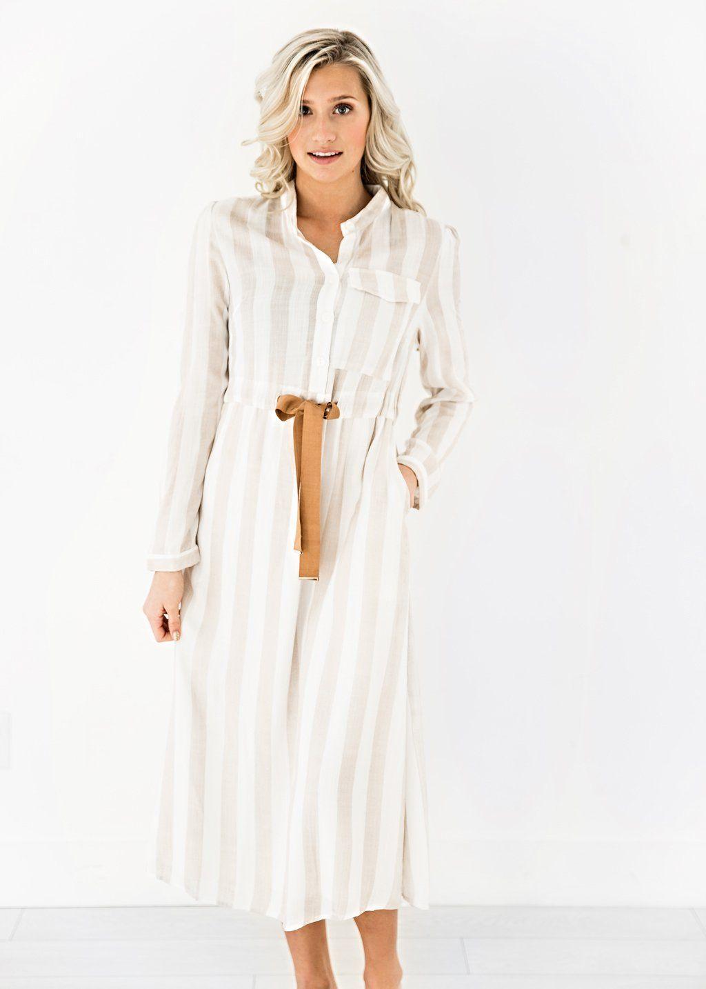 Picnic Striped Dress Jessakae New Arrivals Striped Dress Pocket Detail Womens Fashion Womens Style Tan White Beaut Fashion Dresses Clothes For Women [ 1434 x 1024 Pixel ]