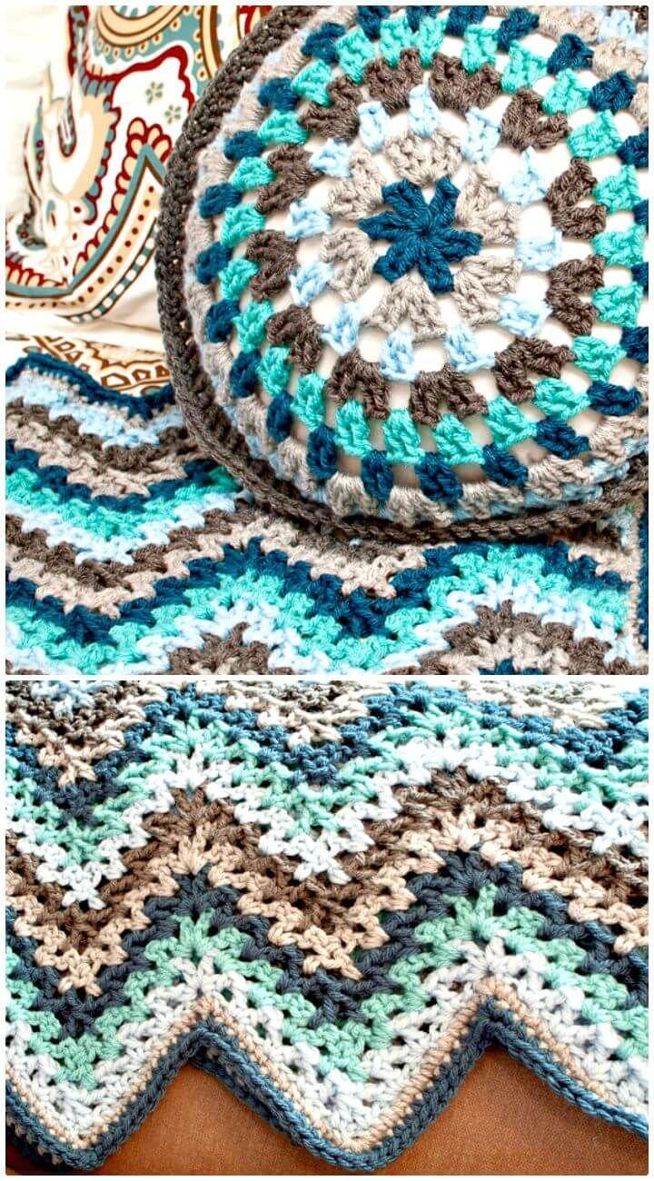 Hermosa Patrón De Crochet Afghan Ondulación Cresta - Manta de Tejer ...