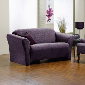 fresca aubergine sofa slipcover purple love seat slip cover chic home decor