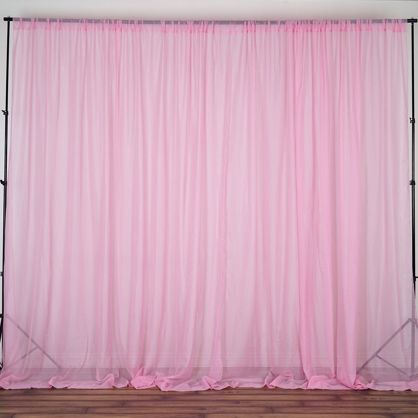Pack Of 2 5ftx10ft Pink Fire Retardant Sheer Organza Premium Curtain Panel Backdrops With Rod Pockets Panel Curtains Curtains Pink Curtains