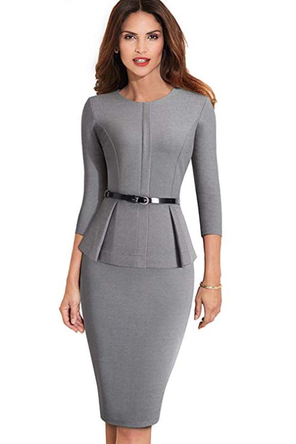 Women's 3/4 Sleeve Office Wear to Work Peplum Pencil Dress with Belt |  Office dresses for women, Elegant dresses, Dresses for work