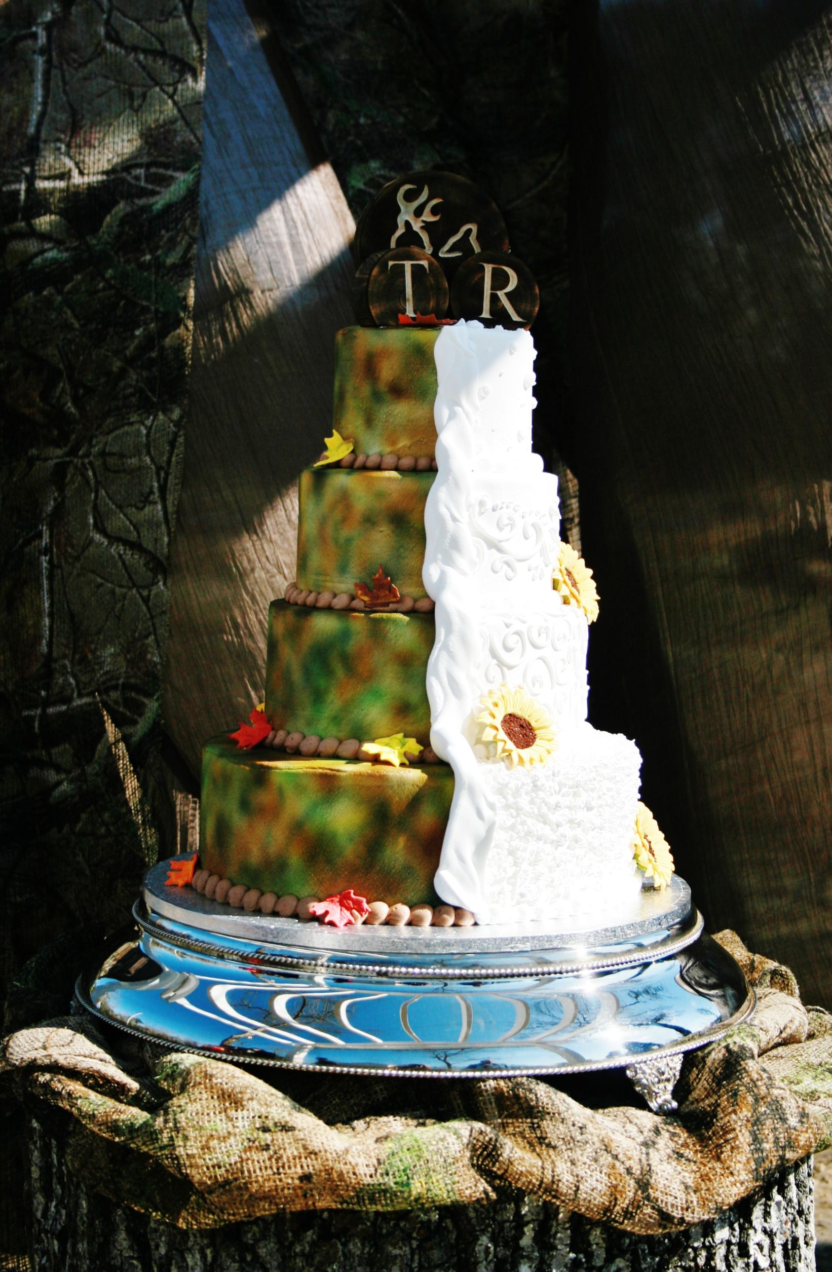 sunflower & camo country wedding cake