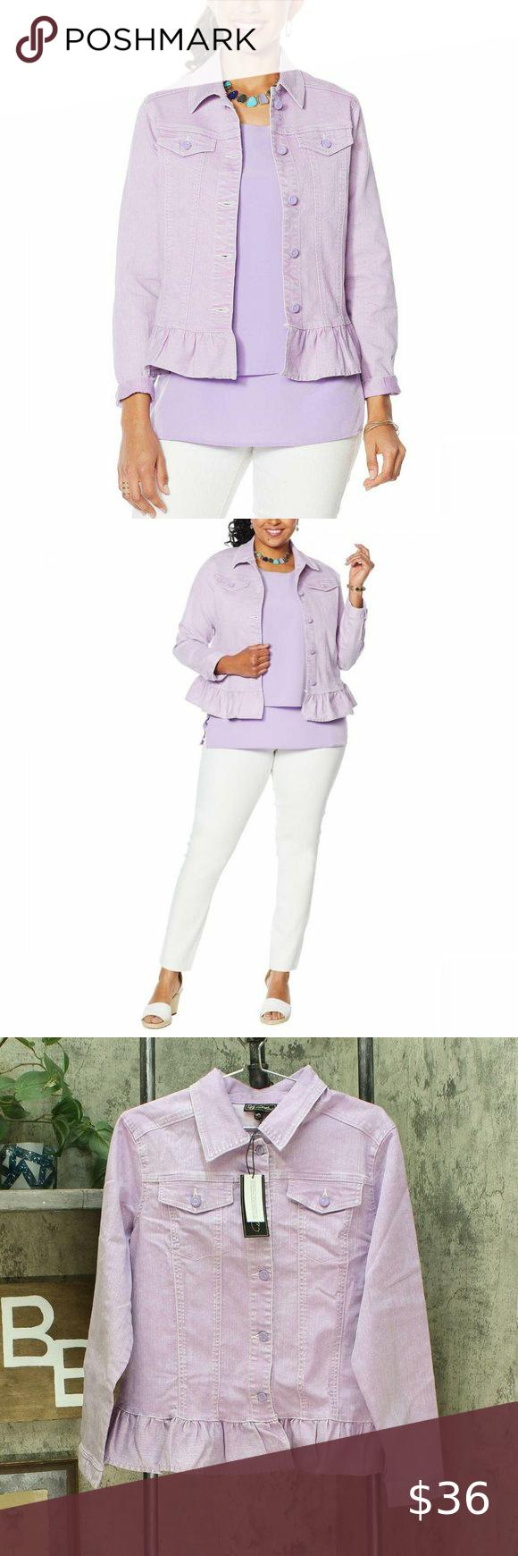 Nwt Ruffled Hem Stretch Denim Jacket Xl Lavender Denim Fashion Stretch Denim Denim Jacket [ 1740 x 580 Pixel ]