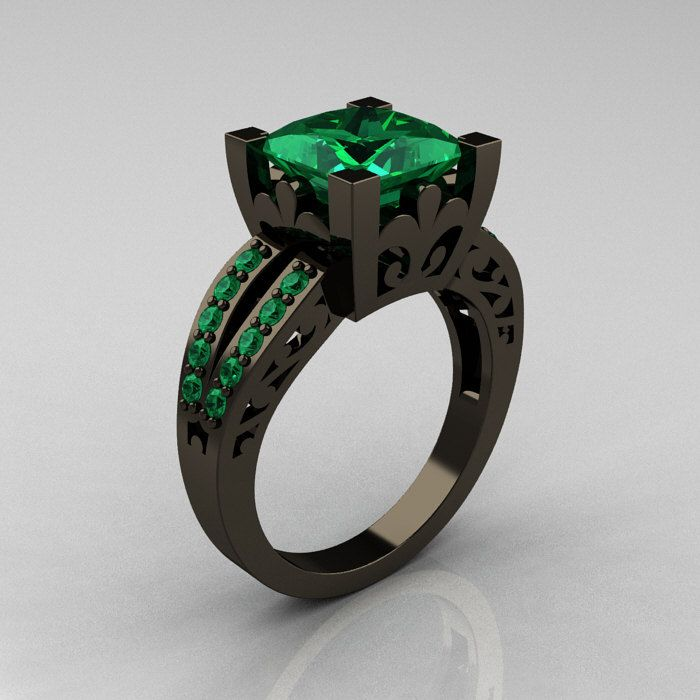 French Vintage 14K Black Gold 3.8 Carat Princess Emerald Solitaire Ring R222-BGEM. $2,449.00, via Etsy.