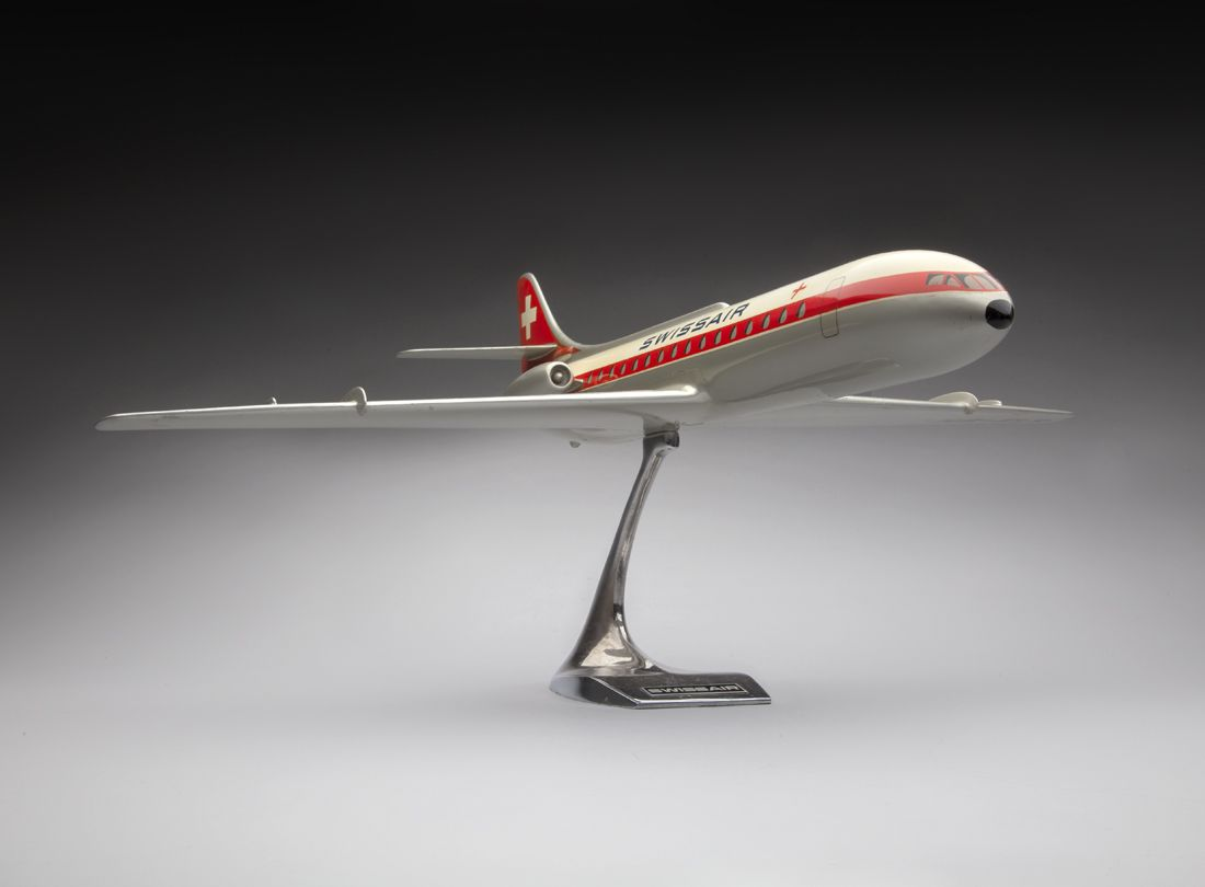 Swissair Sud Aviation SE 210 Caravelle III model aircraft  late 1950s. Raise-Up, Rotterdam, Netherlands
