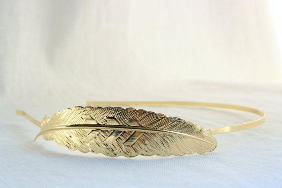 Engagement Party / EVA Gold Feather Chevron Headband  18k Gold by PompAndPlumage, $16.00