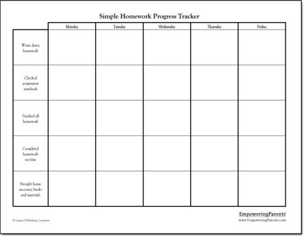 Simple homework chart Behavior Charts Pinterest Homework - progress chart for kids