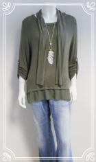 Lagenlook split button back casual top in khaki green fits 10-16