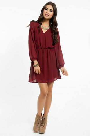 Tobi Wine Colored Dress Fashion Pinterest Dresses Chiffon
