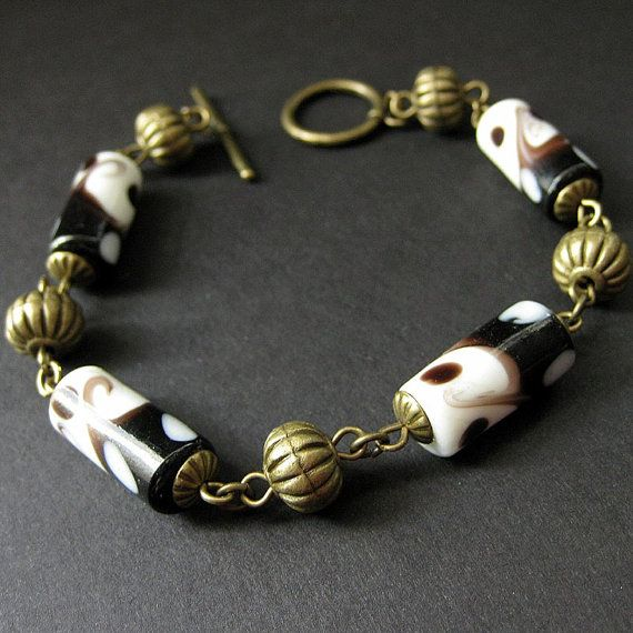 Lampwork Glass Bracelet Beaded in Black White and by Gilliauna,