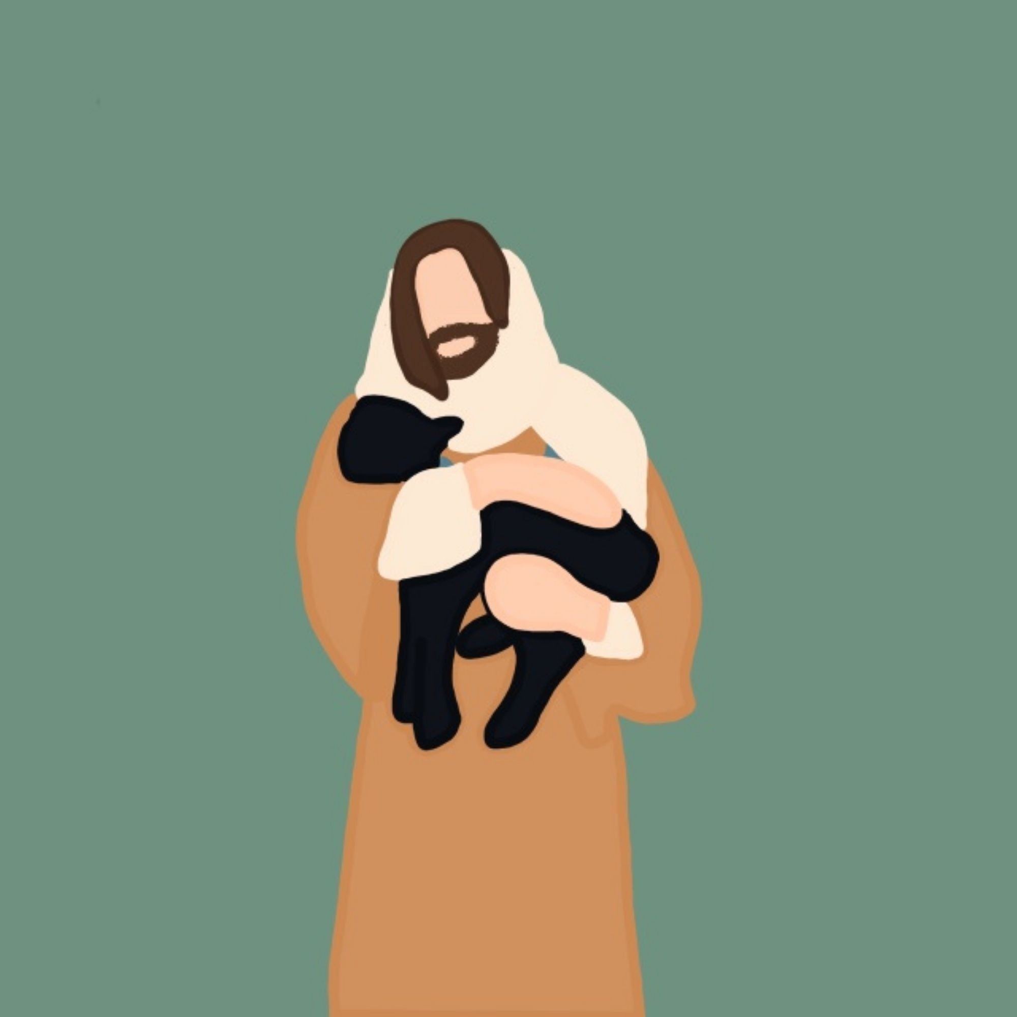 Jesus Christ Faceless Picture   Minimalistic Portrait