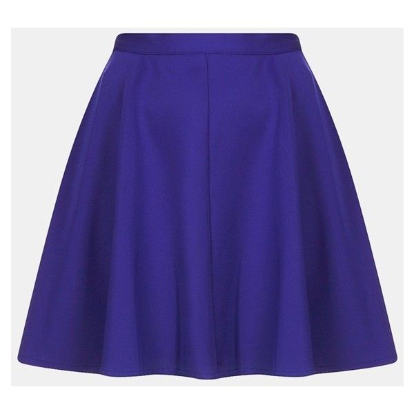 Topshop Scuba Skater Skirt ($30) ❤ liked on Polyvore featuring skirts, topshop skirts, flared skirt, blue flared skirt, blue skater skirt and blue skirt