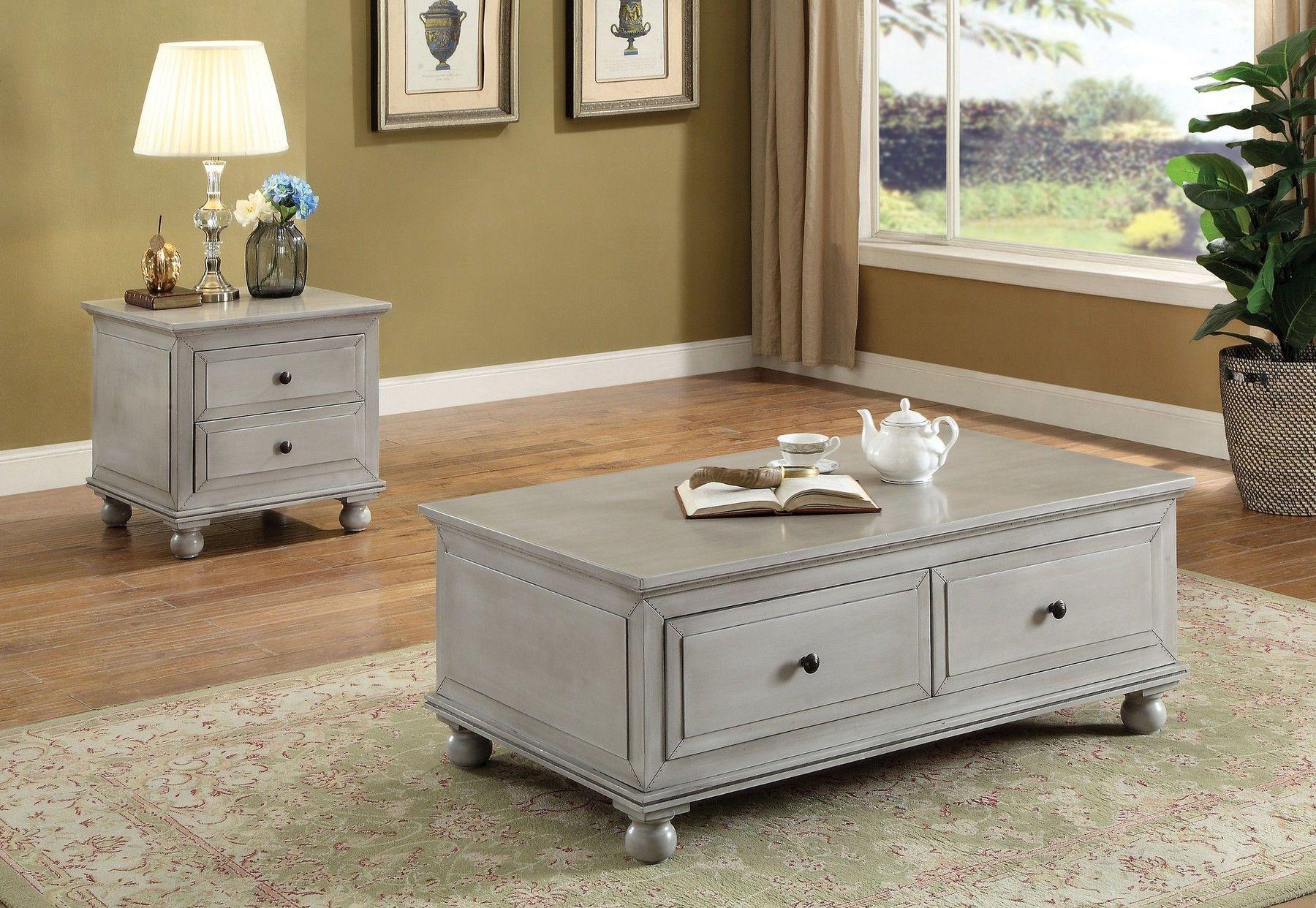 Acme corporation vidar antique gray finish coffee table w